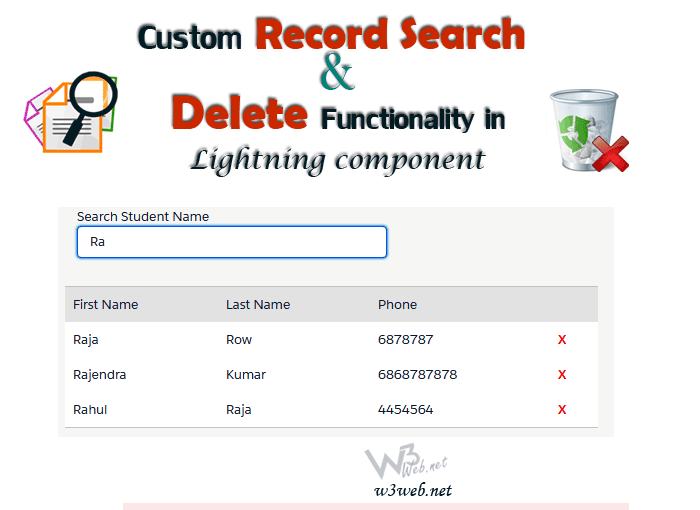 Custom search and delete functionality in Salesforce by w3web.net