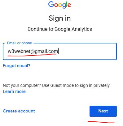 Google Analytics Sign In -- w3web.net