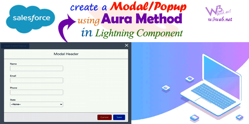 create a Modal/Popup on click button using aura method -- w3web.net
