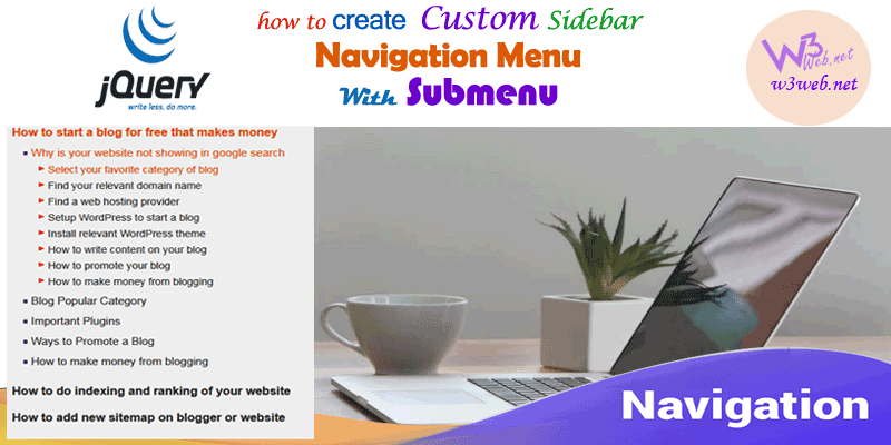 custom sidebar navigation menu with submenu -- w3web.net