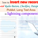 How to Insert New Record with Radio Button, Checkbox, Datepicker, Picklist, Long Text Area Using Lightning Component and Apex Controller