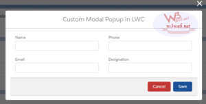 display modal popup with a form inside a lightning web component (LWC) -- w3web.net