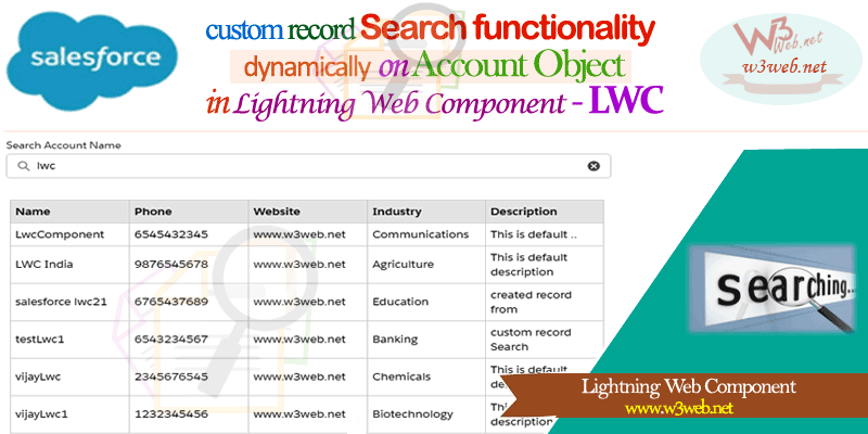 create custom search in lightning web component-LWC -- w3web.net