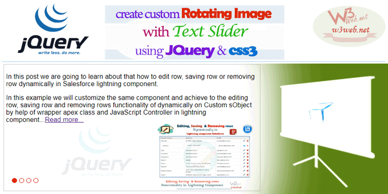 How to Create Custom Banner Rotating Image with Text Slider in JQuery and css3 -- w3web.net