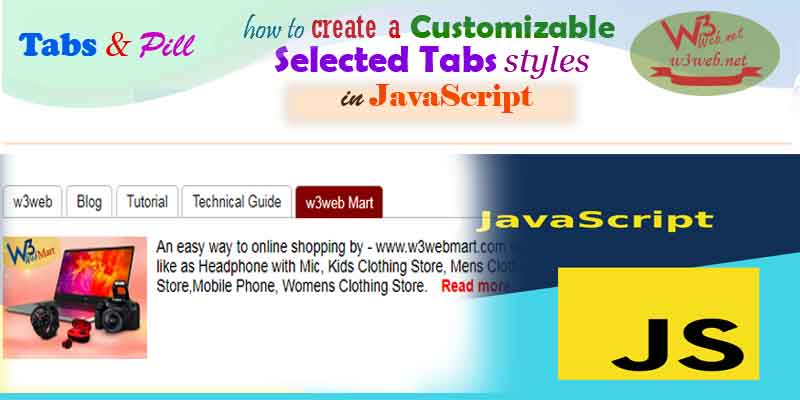How to create a Customize selected tab styles in JavaScript -- w3web.net