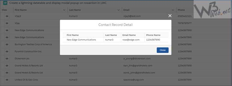 create lightning datatable row actions in lwc -- w3web.net