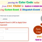 How to pass the color code value from a child LWC component to parent lightning aura component using LWC Custom Event & Dispatch Event
