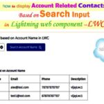 How to display account related contacts based on account name using search input and click button in Salesforce lightning web component – LWC
