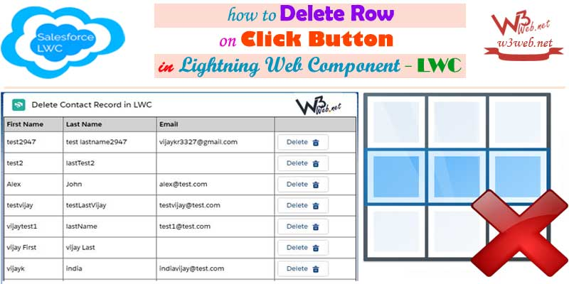 delete row on click button in lwc -- w3web.net