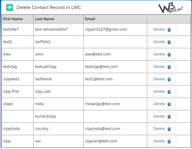 delete selected records on click button in lwc -- w3web.net