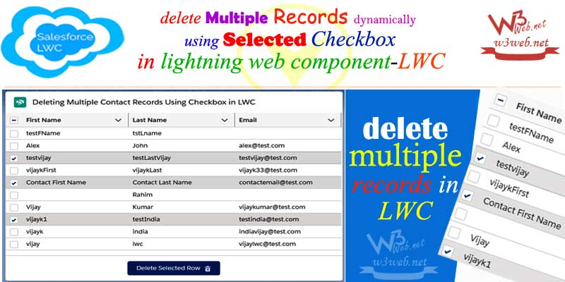 deleting multiple records with checkbox in lwc -- w3web.net