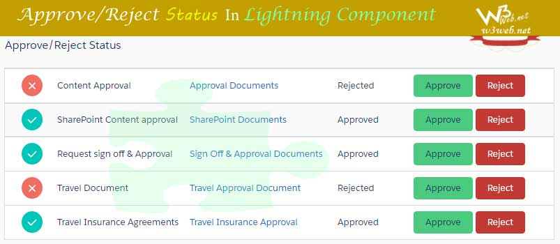 Approve/Reject Status In Lightning Component -- w3web.net