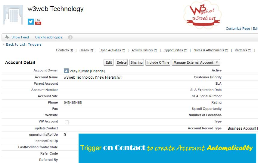 Trigger on Contact to create Account Automatically - w3web.net