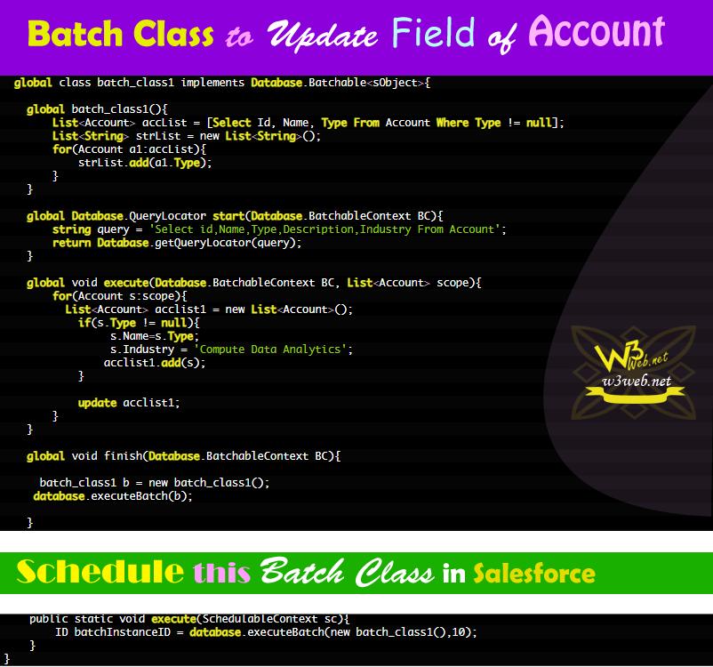 batch class to update account field in salesforce -- w3web.net