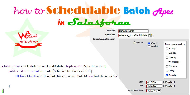 schedule batch class in salesforce -- w3web.net