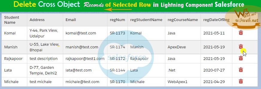 delete cross object records of selected row in salesforce -- w3web.net
