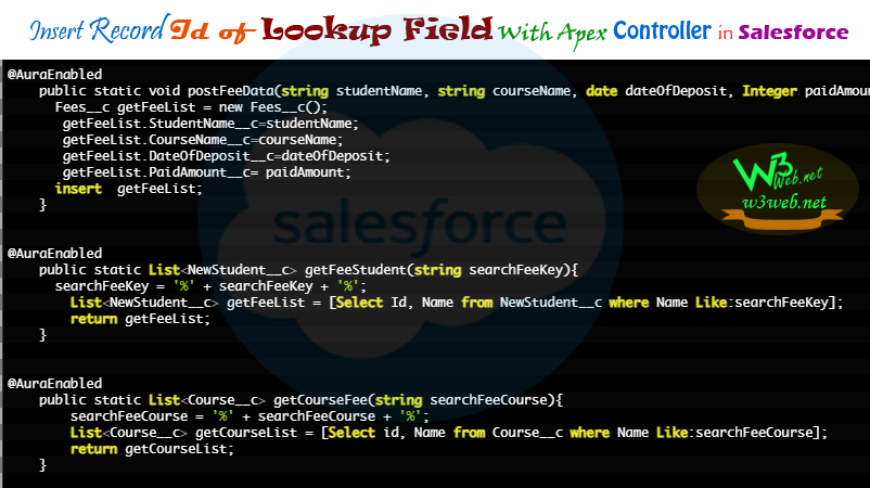 insert record id of lookup field with apex controller in salesforce -- w3web.net
