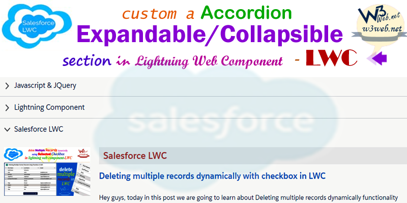 lwc custom accordion expandable/collapsible section -- w3web.net