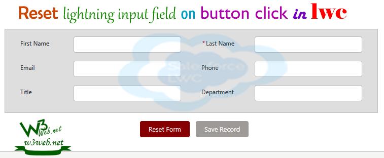 reset lightning input field on button click in lwc -- w3web.net