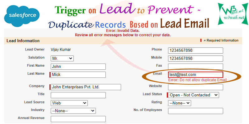 Apex Trigger to Check Duplicate Email on Lead Object -- w3web.net