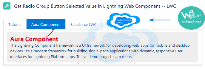 get selected radiobutton value in Salesforce LWC -- w3web.net