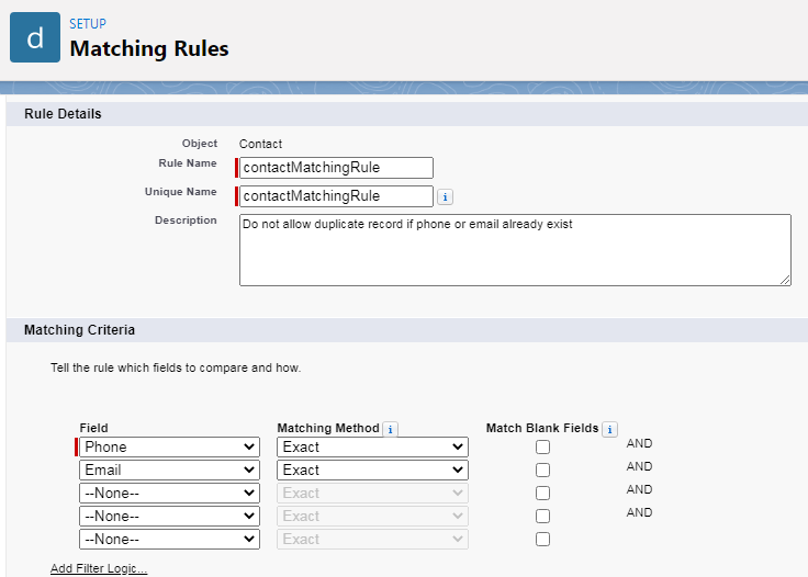 matching rule on contact -- w3web.net