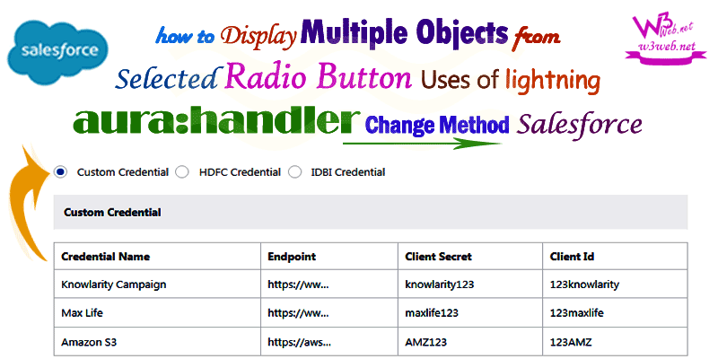 display multiple objects from selected radio button -- w3web.net