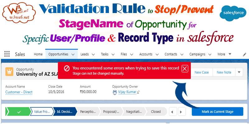 Validation Rule to Stop/Prevent StageName -- w3web.net