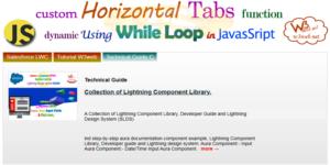 dynamic horizontal tab while loop in javascript -- w3web.net